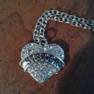 Nwot 3/$13! silvertone necklace heart charm